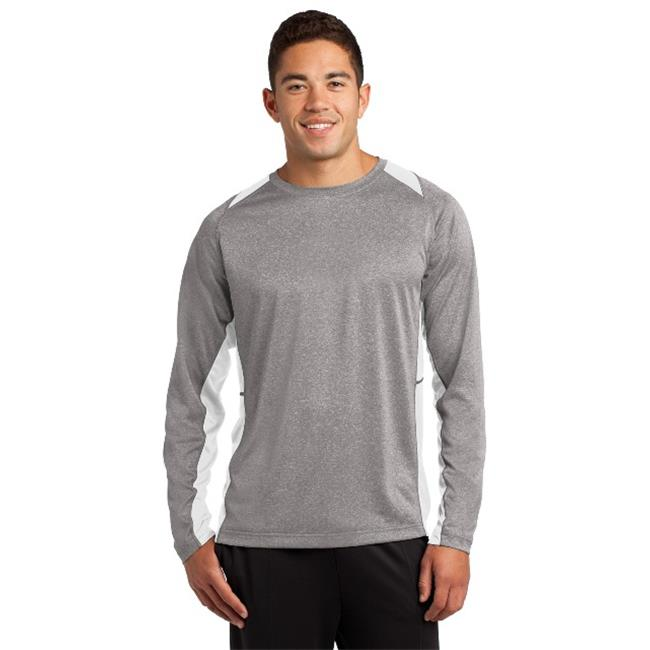 ST361LS Mens Long Sleeve Heather Colorblock Contender Tees, Vintage Heather & White - 4XL