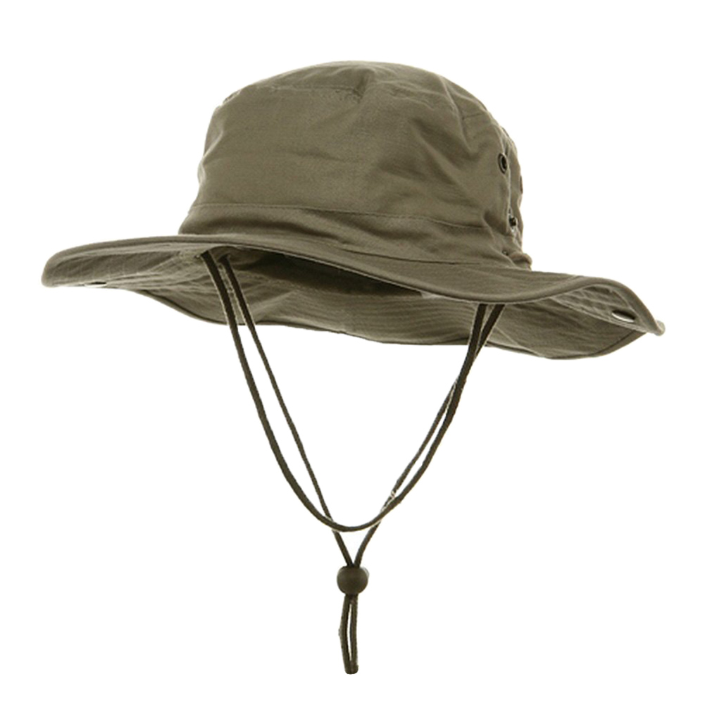 BRUSHED TWILL HUNTING FISHING HAT W SIDE SNAPS, Khaki by