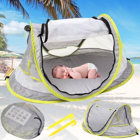 Baby Beach Tent, Portable Baby Travel Bed UPF 50+ Sun Shelters for Infant , PopUp Mosquito Net with 2 Pegs Sunshade Ultralight