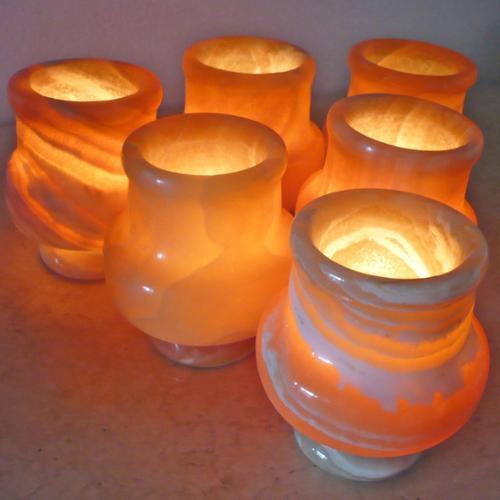 Set of 6 Seti Egyptian Alabaster Votive Candle Holders (Egypt)