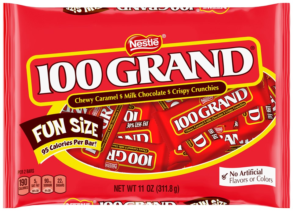 100 Grand Candy Bars, Fun Size, 11 Oz by Nestle USA