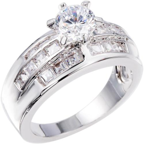 Simon Frank Beautiful Light Collection Cubic Zirconia Ring Silvertone CZ Engagment Ring Size 9