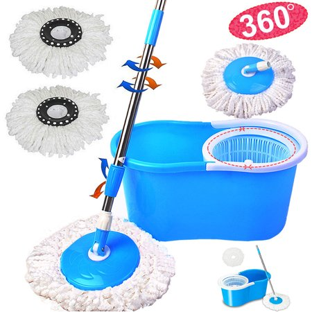 Zimtown Magic Spin Mop Easy Floor Mop Easy Press Mop Bucket Set - 360 Rotation Push & Pull - Liquid Drain Hole - Easy Wring with Reusable Mop Heads Blue