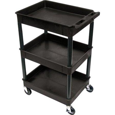 "Luxor STC111 40.5"" Automotive Utility Cart with 3 Shelves, Black"
