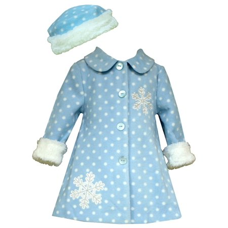 Bonnie Jean Toddler Girls Snowflake Fleece Coat with Hat  2T- 4T