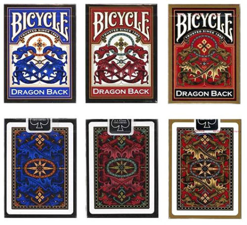 Set of 3 Decks Bicycle Dragon Back Standard Poker Playing Cards Red Blue & Gold by USPCC