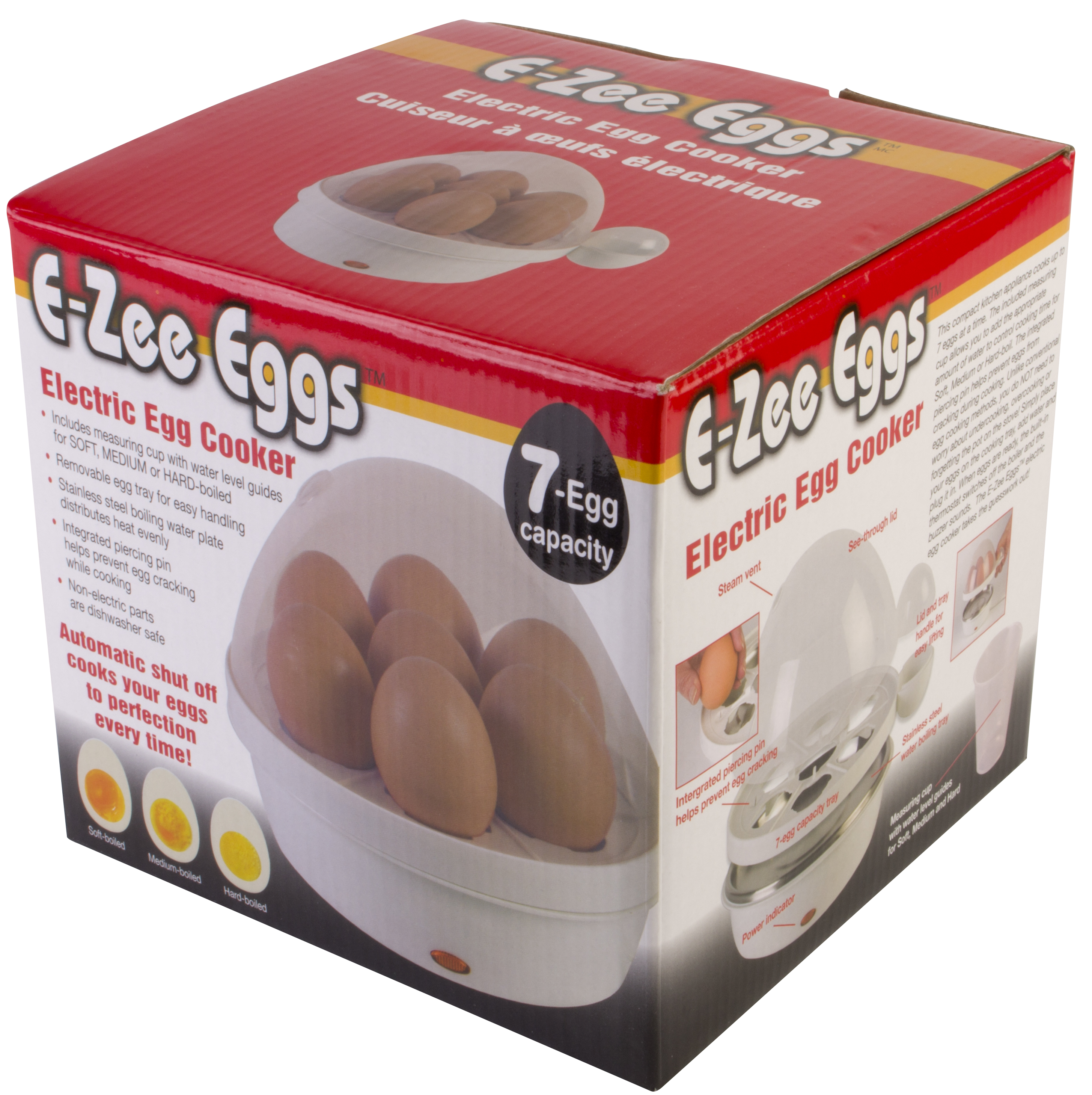 E-Zee Eggs Automatic Electric Egg Cooker - 7 Egg Capacity - Perfect Every Time Guaranteed