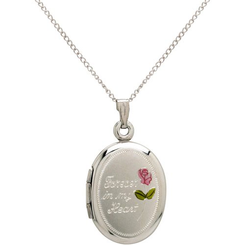 "Oval ""Forever in My Heart"" and Painted Rose Sterling Silver Locket Pendant, 18"""