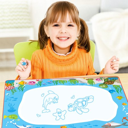 Learn and Play Safe Non-Toxic Magic Water Drawing Painting Writing Mat Board & Magic Pen Doodle for Kids Children