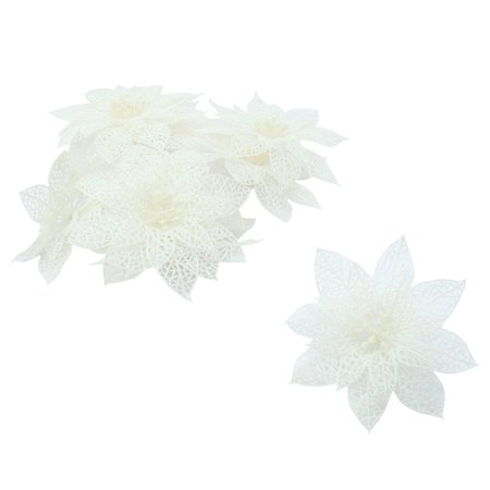 Christmas Ornaments Sale (Unique Bargains Home Party Christmas Artificial Glitter Hanging Ornaments Flower White 10)