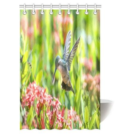 Mypop Hummingbirds Shower Curtain Home Decor Beautiful Female Blue Tailed Emerald Hummingbird In Flight