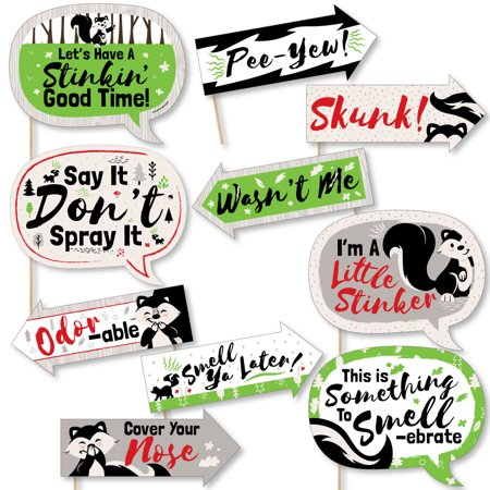 - Funny Little Stinker - Woodland Skunk Baby Shower or Birthday Party Photo Booth Props Kit - 10 Piece