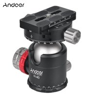 Andoer H-40 Professional Double Panoramic Head CNC Machining Aluminum Alloy Ball Head Single U Notch Design for Tripod Monopod DSLR ILDC Cameras Max Load Capacity 20kg