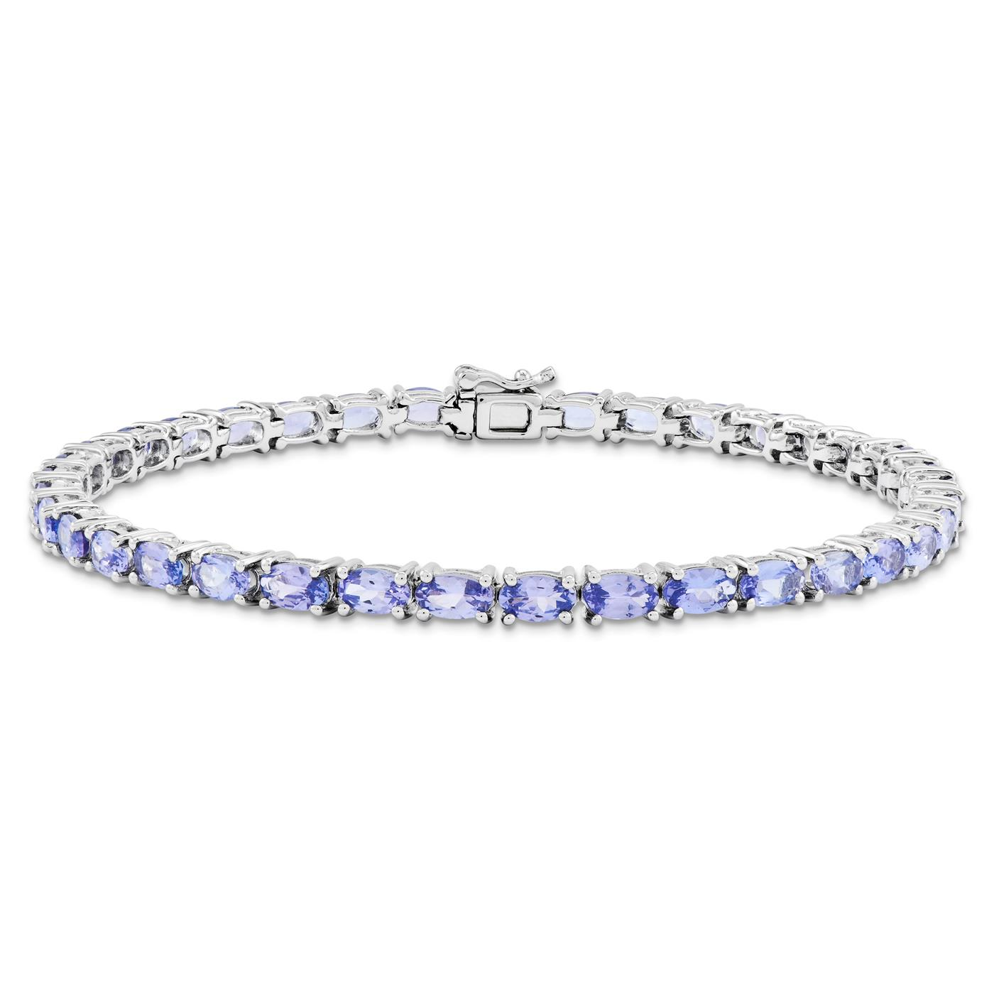 """925 Sterling Silver 7mm Polished Tanzanite Bracelet 7"""" Box Catch by Fusion Collections"""