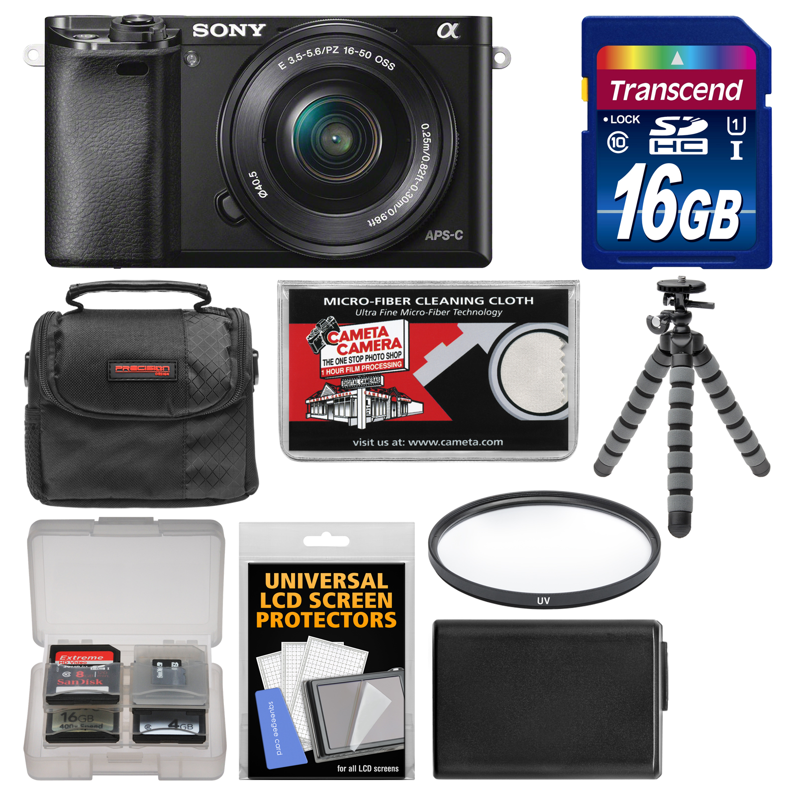 Sony Alpha A6000 Wi-Fi Digital Camera & 16-50mm Lens with 16GB Card   Case   Battery   Tripod   Filter Kit