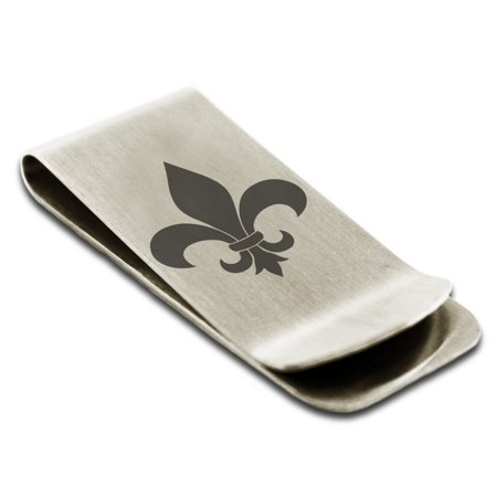 Stainless Steel Fleur De Lis Engraved Money Clip Credit Card Holder