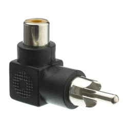 RCA Right Angle Adapter, RCA Female to RCA Male, 90 Degree Elbow