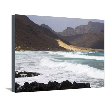 Beach Party Design Grande - Deserted Beach at Praia Grande, Sao Vicente, Cape Verde Islands, Atlantic Ocean, Africa Stretched Canvas Print Wall Art By Robert Harding