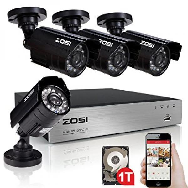 ZOSI 4CH 720P AHD Security Camera System with 4 Weatherpr...