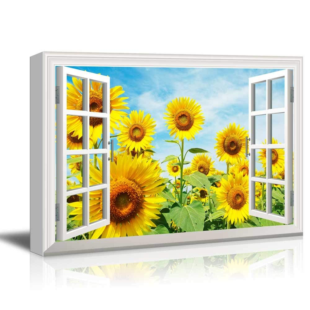 Home and Office Decor Sunflower Field Sunflowers Gallery Wrapped Canvas Yellow Flowers Sunflower Photo Sunflower Wall Art
