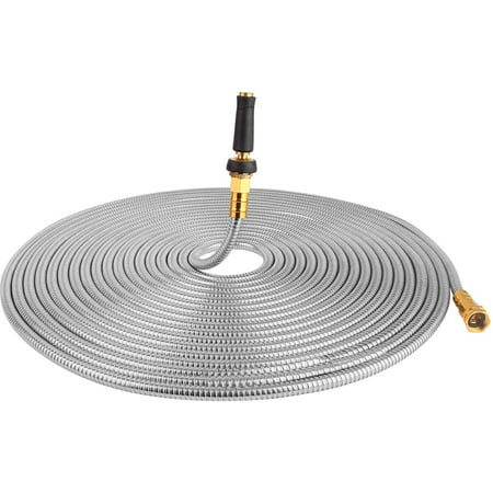 Image of TOUCH-RICH 304 Stainless Steel Garden Hose, Lightweight Metal Hose with Free Nozzle, Guaranteed Flexible and Kink Free (75FT, Stainless)