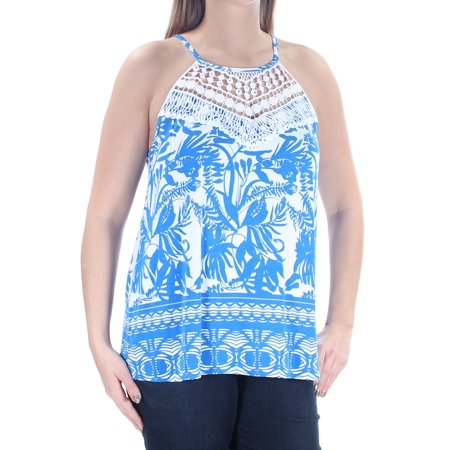INC Womens Blue Embellished  Crochet Trim Floral Sleeveless Halter Top  Size: L