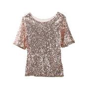 Women Ladies Sequin Lady Sparkle Glitter Blouse Short Sleeve Party Top Hot