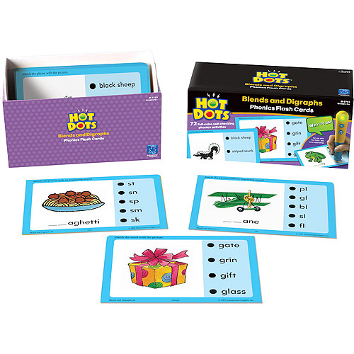 Hot Dots Phonics Flash Cards, Blends and Digraphs