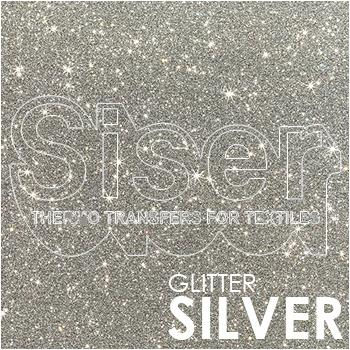 SISER Glitter Silver Iron On Letter Heat Transfer Vinyl HTV Contact Paper Decal Roll (Choose Your Size)