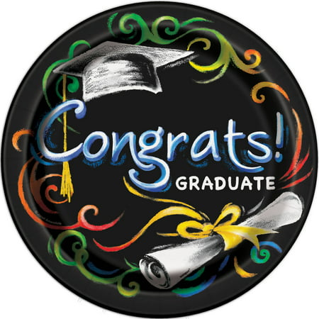 Chalkboard Graduation Paper Dinner Plates, 9in, 8ct](Graduation Plates)