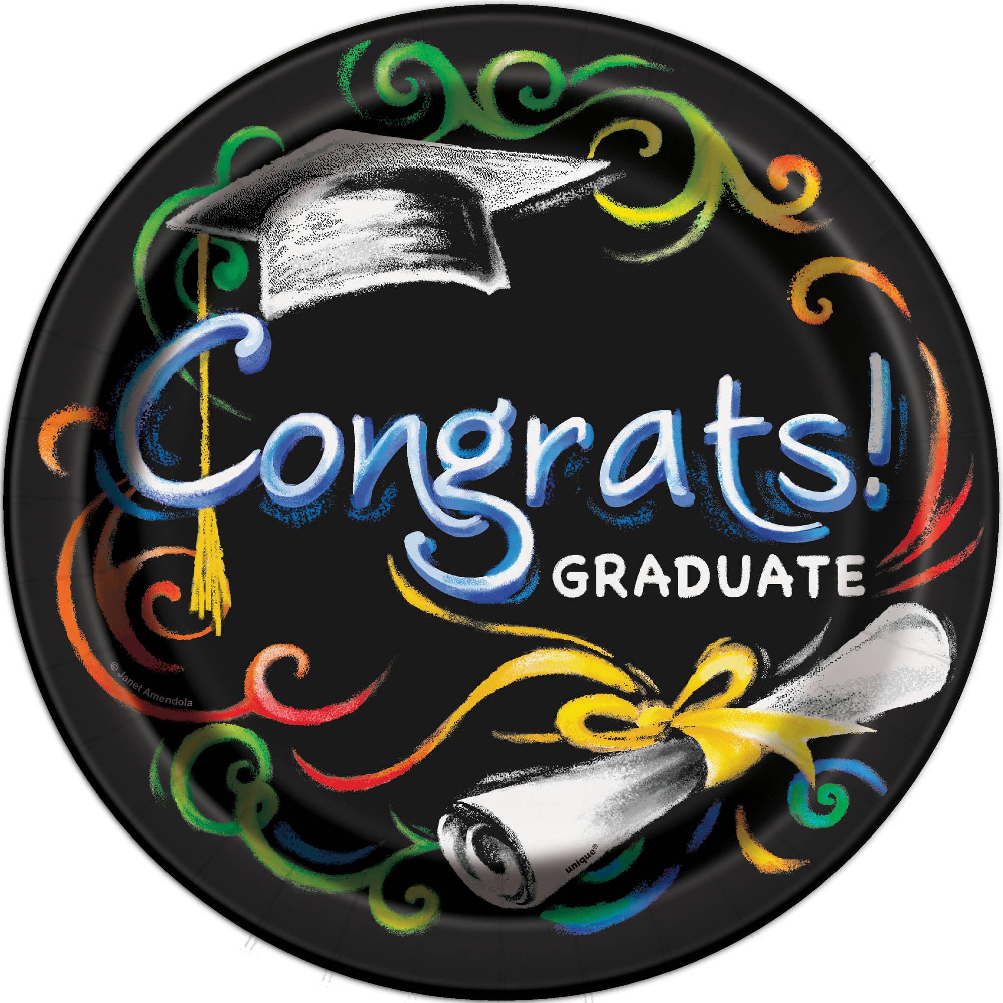 Chalkboard Graduation Paper Dinner Plates, 9in, 8ct