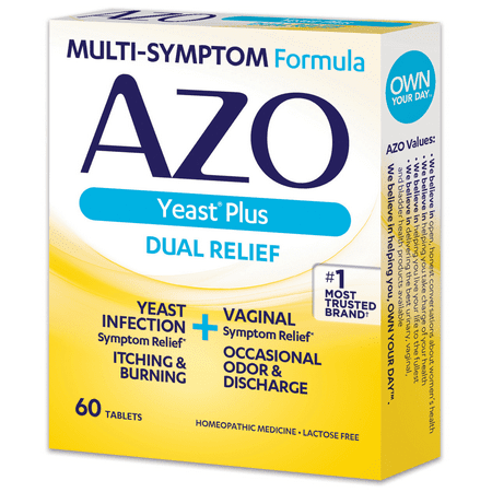 AZO Yeast Plus Infection & Vaginal Symptom Relief Tablets, 60 (Best Over The Counter Yeast Infection Test)
