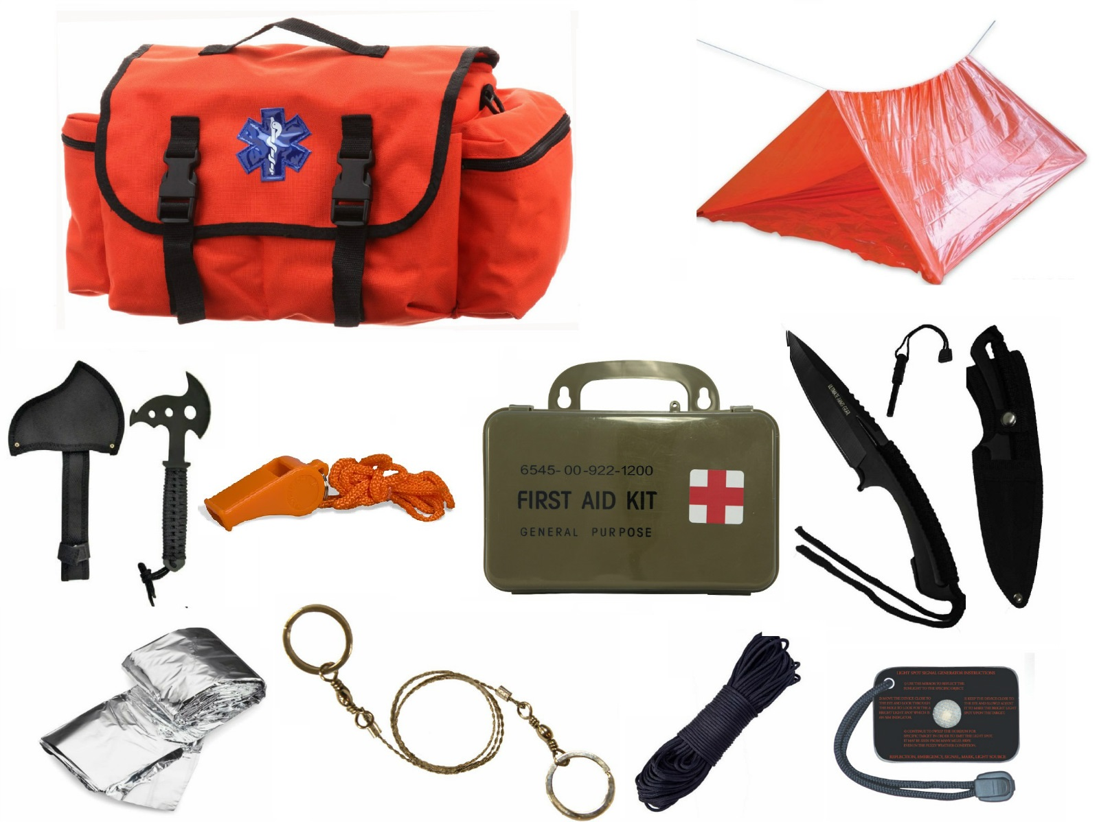 Ultimate Arms Gear Deluxe Orange Emergency Survival Rescue Bag Kit; Signal Mirror, Polarshield Blanket, Knife Fire... by