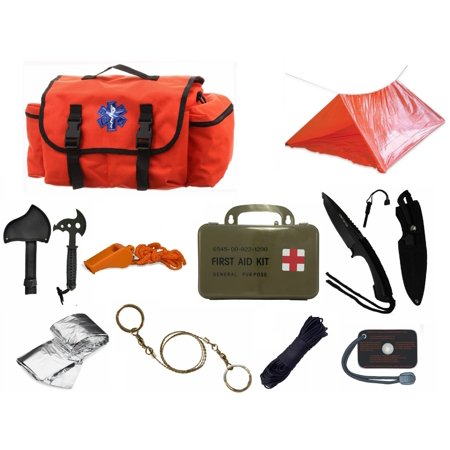 (Ultimate Arms Gear Deluxe Orange Emergency Survival Rescue Bag Kit; Signal Mirror, Polarshield Blanket, Knife Fire Starter, Wire Saw, 50' Foot Paracord, Camping Tube Tent, Whistle & First Aid Kit)