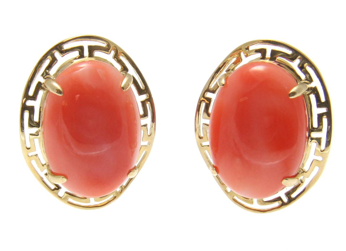 Genuine natural oval cabochon pink coral earrings 14k gold omega french clip by