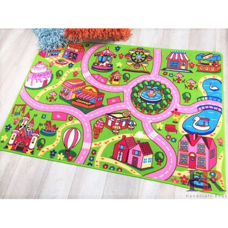 Handcraft Rugs-Dream land driving cars play-mat Pink/Green and Multi-Color Anti Slip Rug/Game Carpets for Kids/Kids Toy/Kids learning rug/Kids Floor Rug (8 by 10 feet) ()