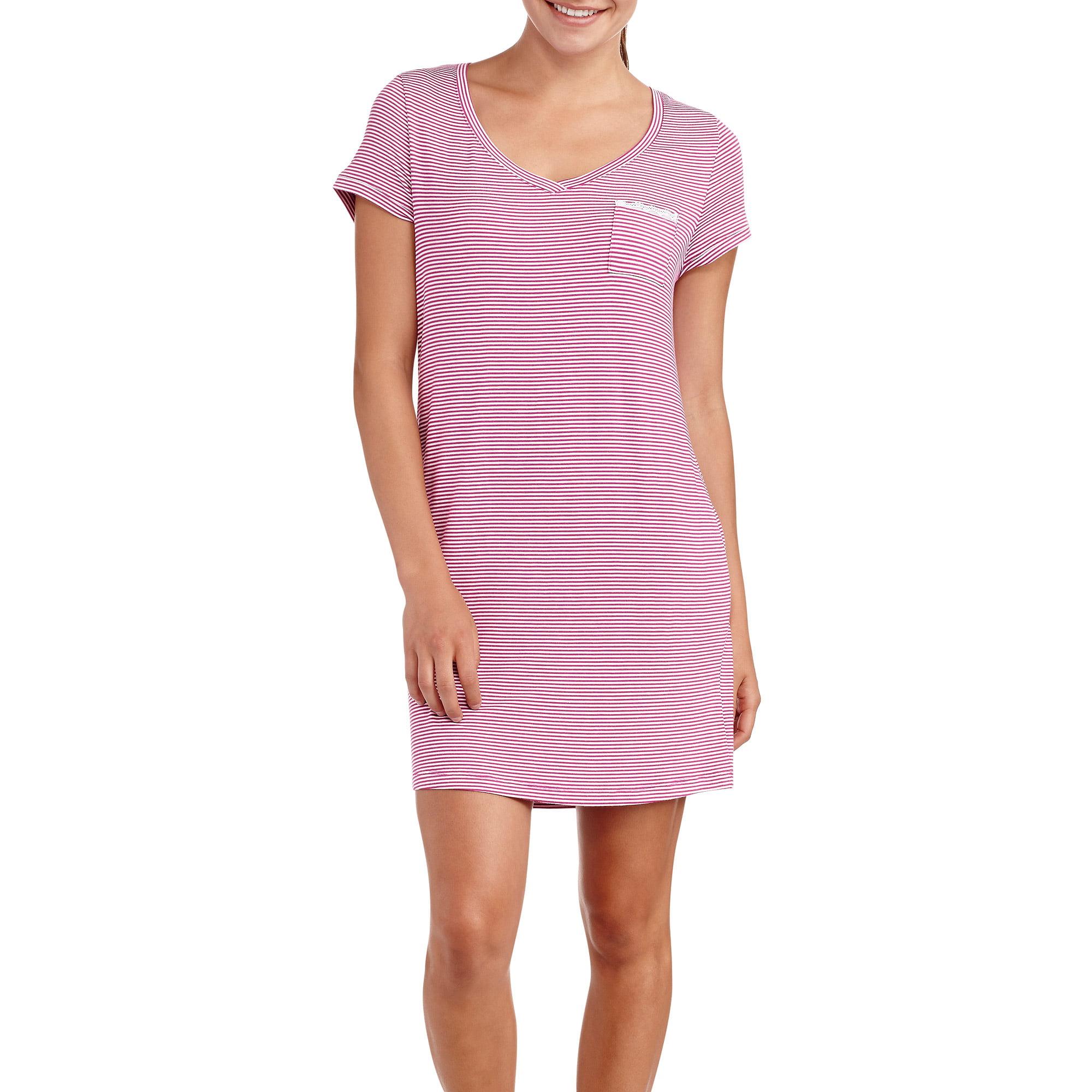 Faded Glory Women's Short Sleeve V-Neck Sleep Shirt with Pocket