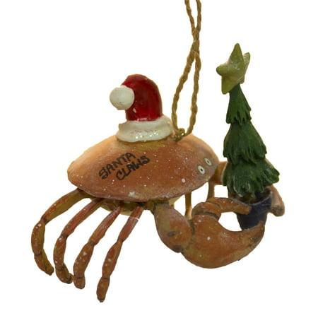Funny Nautical Christmas Ornament - Crab w/ Santa Hat & Tree