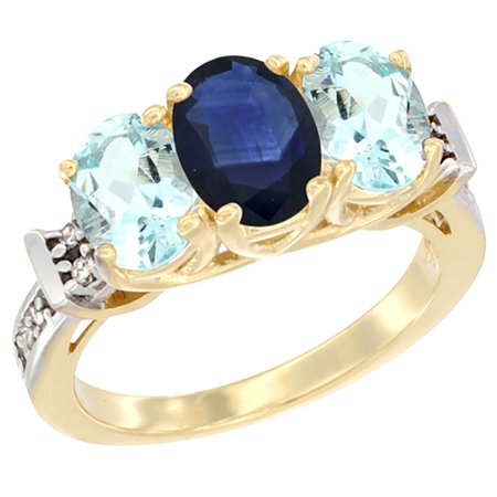 (14K Yellow Gold Natural Blue Sapphire & Aquamarine Sides Ring 3-Stone Oval Diamond Accent, size 5.5)