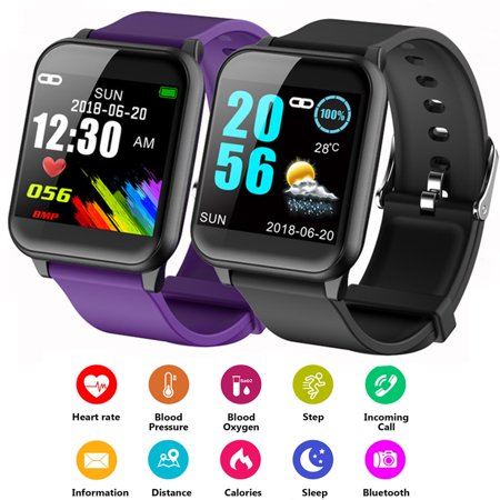 Fitness Tracker, Activity Tracker Waterproof Smart Watch with Heart Rate Monitor, Blood Pressure, Sleep Monitor Step Counter Reminder Pedometer for Men Women Kids BLACK (Sleep And Step Tracker)