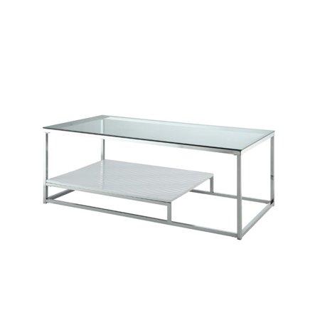 Furniture Of America Nadia Metal Glass Top Coffee Table In White