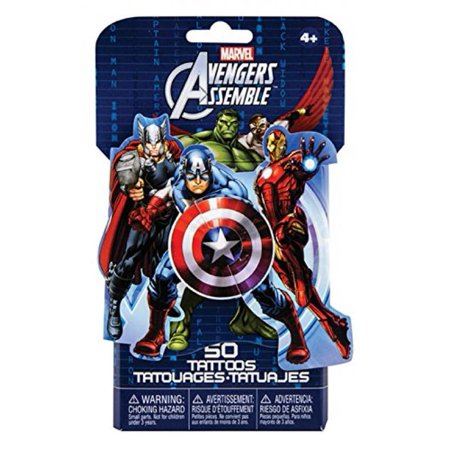 Marvel Avengers Assemble 3D Novelty Pack of 50 Temporary Tattoos by - Avengers Tattoo