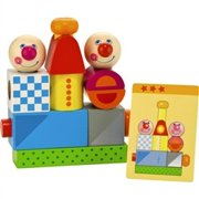 HABA Brain Builder Peg Set Building Blocks with Pattern Cards for Ages 2+