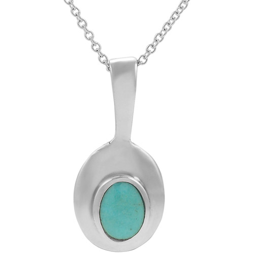"""Brinley Co. Created Turquoise Sterling Silver Oval Pendant, 18"""""""