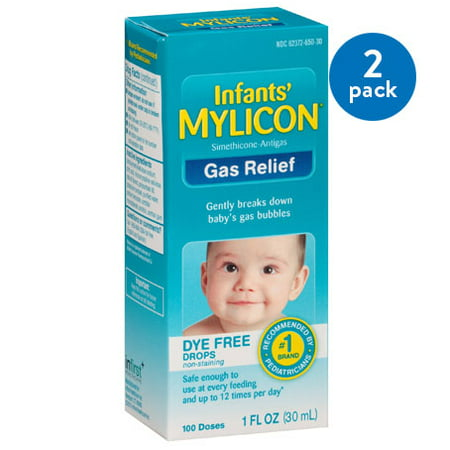 (2 Pack) Mylicon Infants' Dye Free Gas Relief 100 Doses, 1 Fl