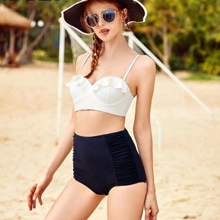 - CJCMALL Plus Size Swimwear Fashion Women High Waisted Swimsuit Push Up Padded Bikini Set