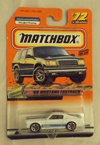 1999 '65 MUSTANG FASTBACK WHITE #72 by, By Matchbox by