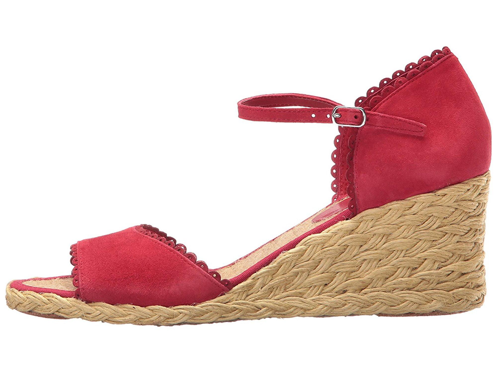 LAUREN by Ralph Lauren Womens Chrissie Leather Open Rouge Kidsuede Size 75