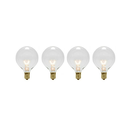 Pack of 4 Transparent Clear G40 Globe Christmas Replacement Light Bulbs Clear Decorative Globe Bulbs