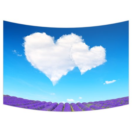 YKCG Lavender Blooming Scented Fields Purple Flowers Heart Shaped Love Wall Hanging Tapestry Wall Art 90x60 (Flowers Heart Shaped)